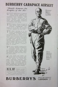 Advert featuring illustration of a gentleman modelling the Burberry Carapace air suit.