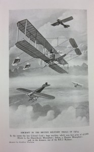 Illustration of early British aircraft in flight 1914.