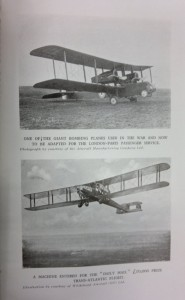 Photographs of two First World War bombers adapted for civilian use.