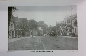 Black and white image of Epping High Street.
