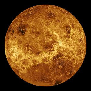 Radar image of the planet Venus.
